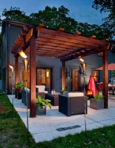 Outdoor deck and pergola