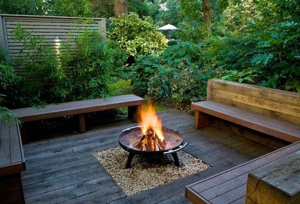 Outdoor decking with stylish firepit