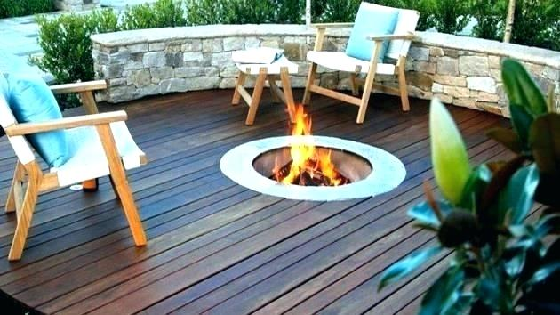 Deck with in-built firepit