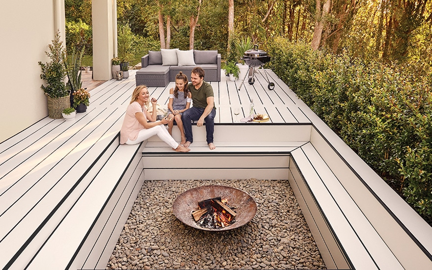 Outdoor decking with sunken firepit
