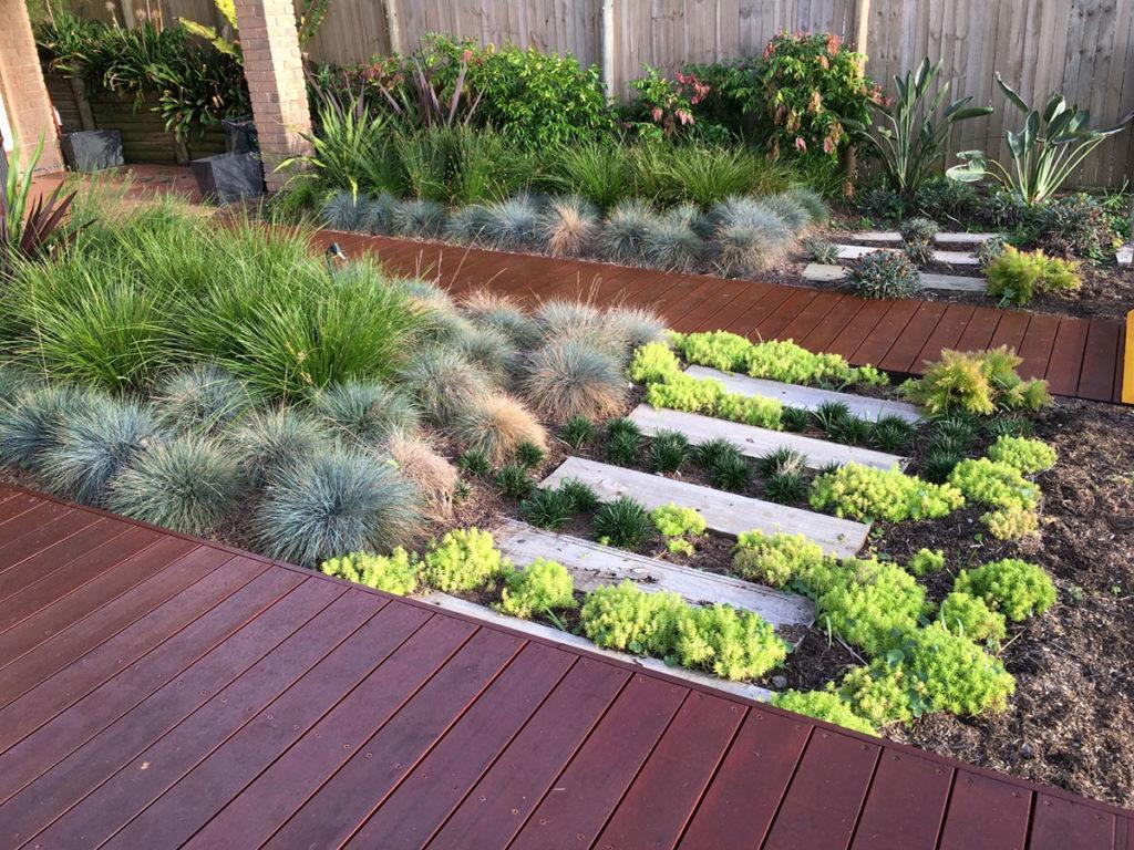 Decking with garden