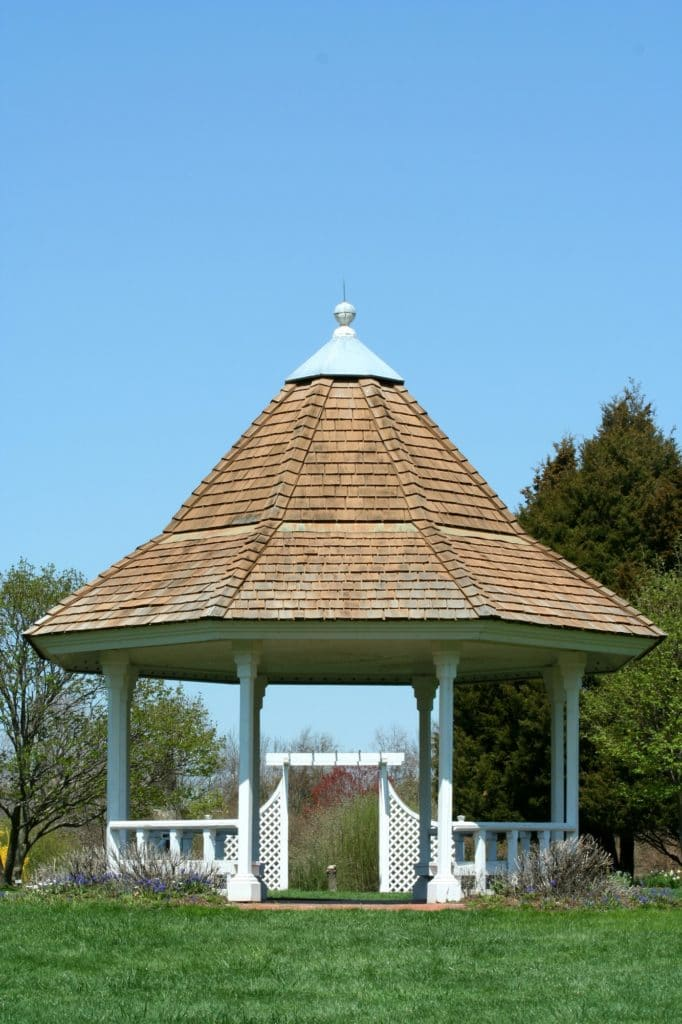 White gazebo in a park
