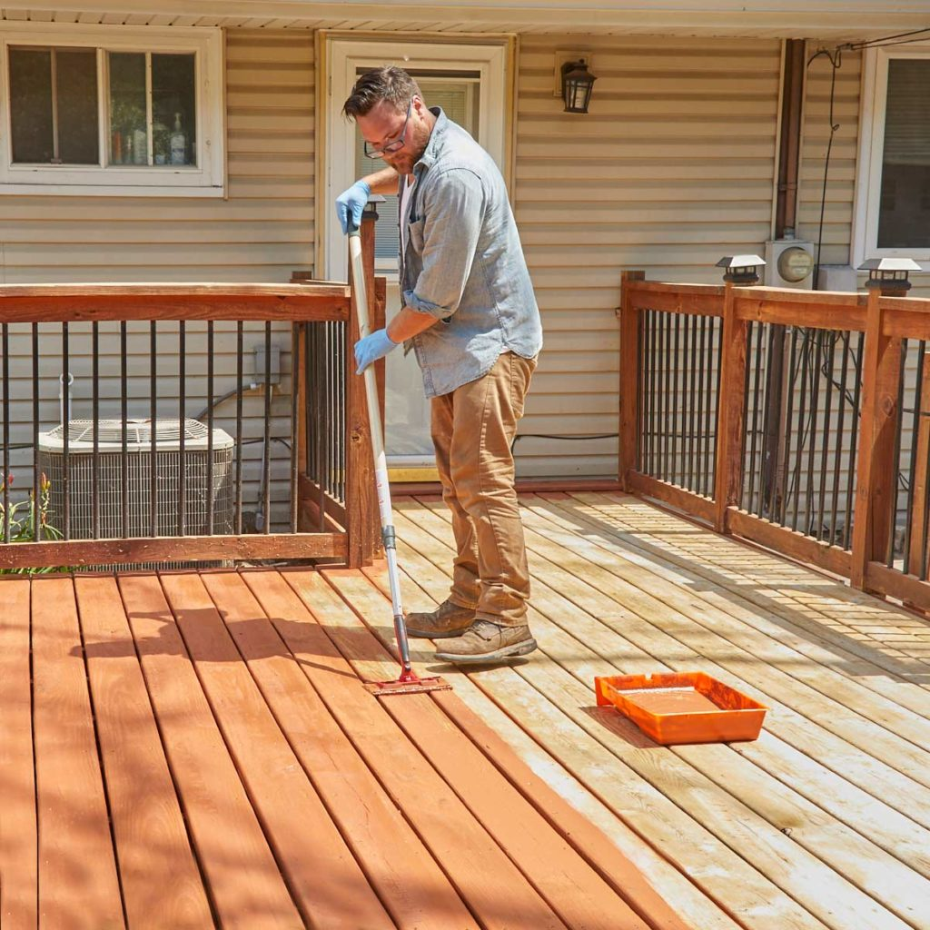 Staining a wooden deck