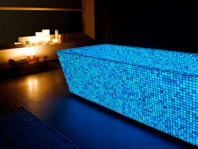Glowing bath tiles