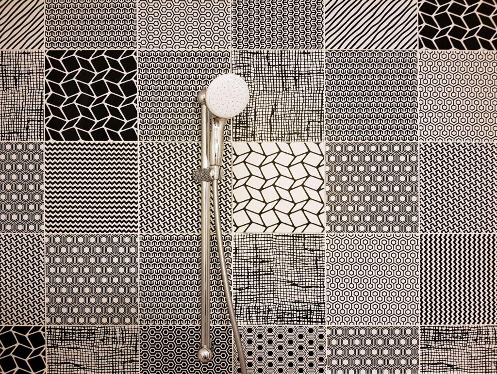 Black and white bathroom shower tiles