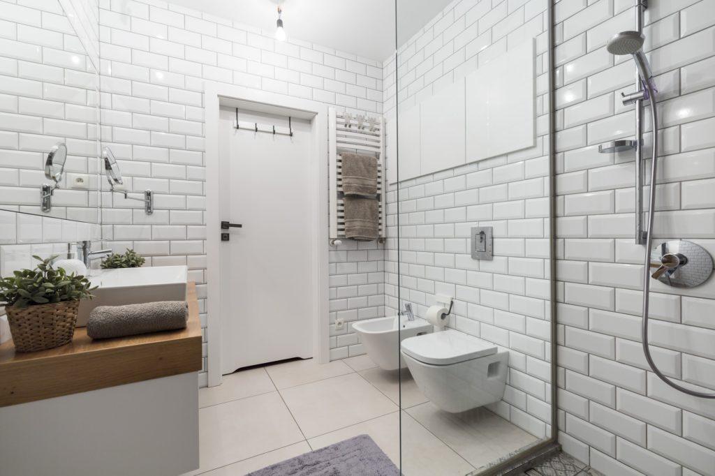 White tiles in modern bathroom