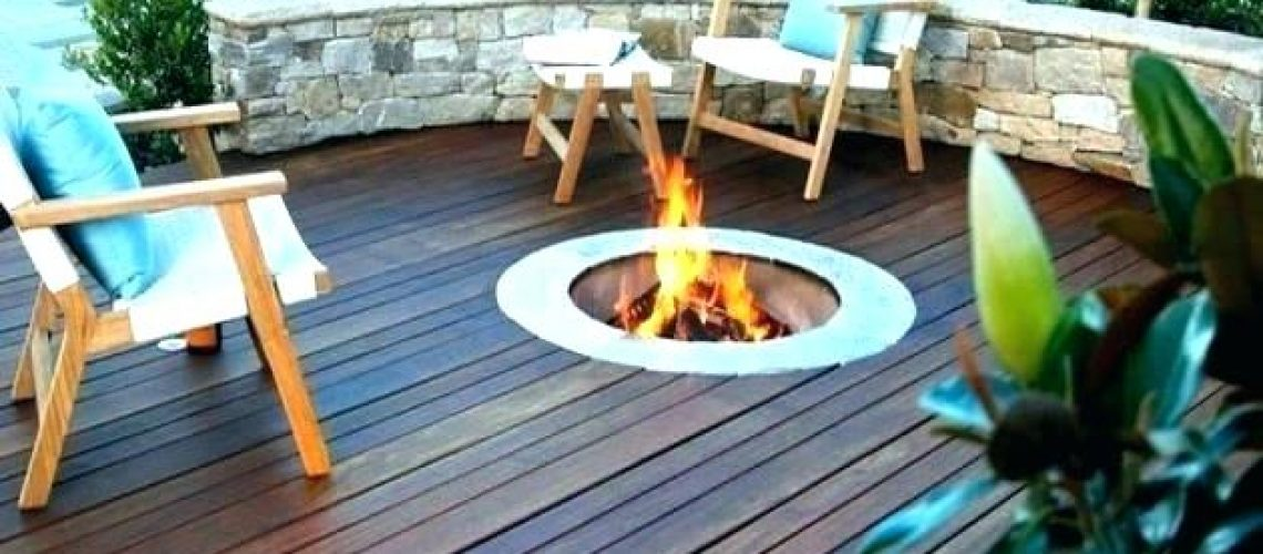 Outdoor decking with integrated firepit